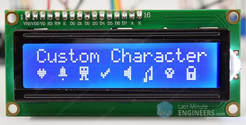 Interfacing 16x2 LCD with Arduino Custom Character Generation Program output
