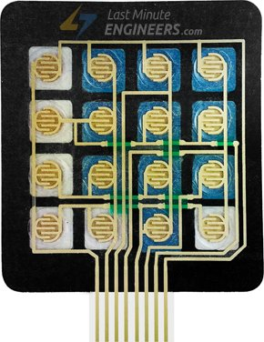 Internal Conductive Traces of 4x3 Membrane Keypad On Back Side
