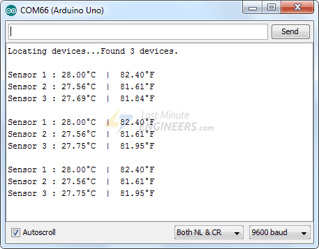 Output of Multiple DS18B20 - By Index Method