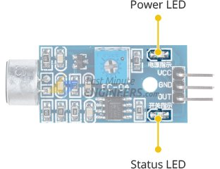 sound sensor power and status leds