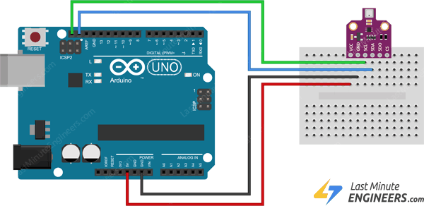 wiring connecting bme680 sensor module with arduino through i2c interface
