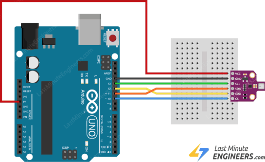 wiring connecting bme680 sensor module with arduino through spi interface