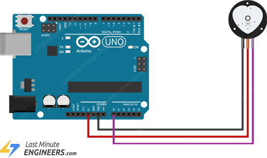 wiring connecting pulse sensor with arduino