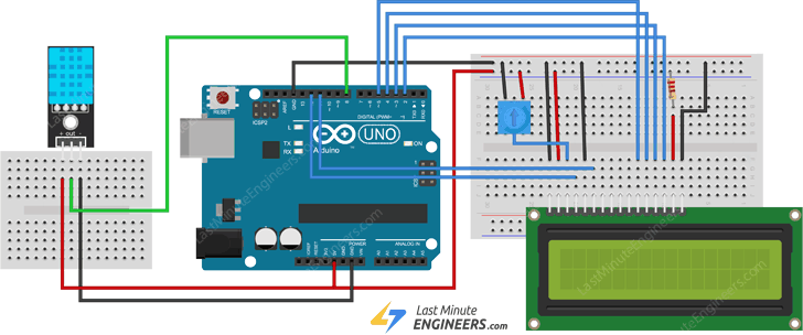 wiring dht11 module with arduino and lcd