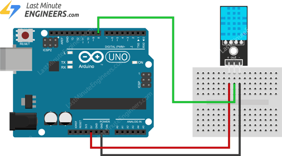 wiring dht11 module with arduino