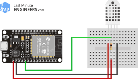 Wiring Fritzing Connecting DHT22 Temperature Humidity Sensor with ESP32