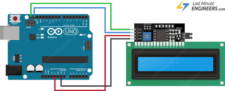 wiring i2c lcd display with arduino