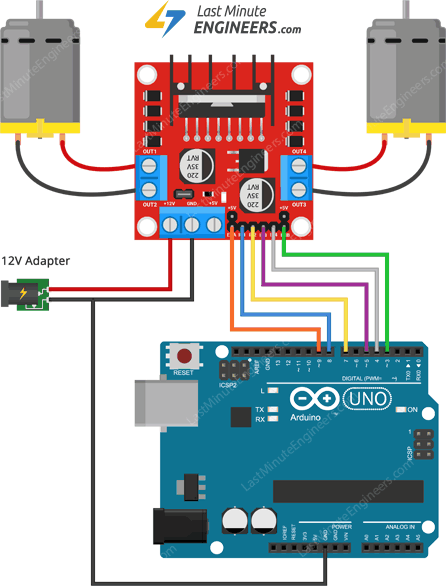 Wiring L298N Motor Driver Module with DC TT motors and Arduino UNO