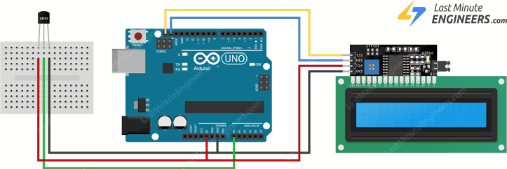 wiring lm35 temperature sensor to arduino and i2c lcd