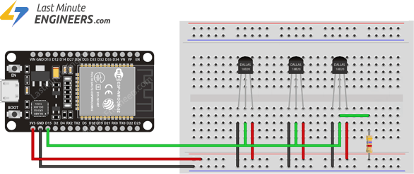 Wiring Multiple DS18B20 Temperature Sensors to ESP32