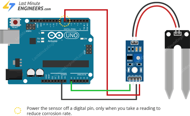 wiring soil moisture sensor with arduino for reading analog output