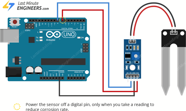 wiring soil moisture sensor with arduino for reading digital output