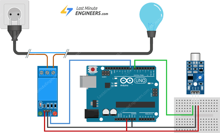 wiring sound sensor and relay with arduino