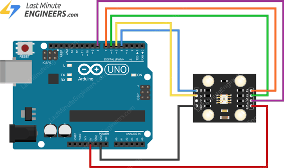 wiring tcs230 tcs3200 color sensor module with arduino