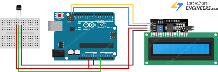 wiring tmp36 temperature sensor to arduino and i2c lcd