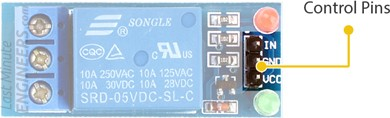 one channel relay module control pins