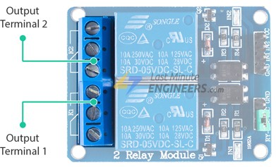 two channel relay module output terminal blocks