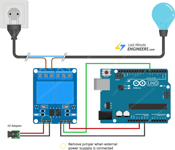 wiring relay module with arduino and external supply